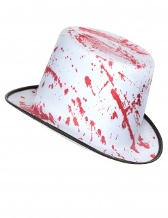 Blutiger Zylinder Halloween Hut weiss-rot