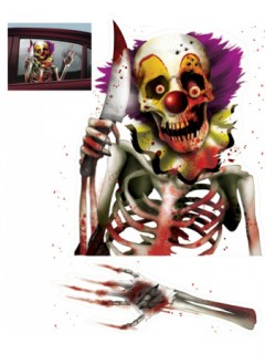 Horror-Clown Fenster-Sticker Halloween Party-Deko bunt 61x30cm