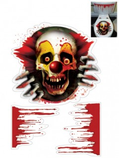 Horror-Clown Toiletten-Sticker Set Halloween-Party Deko 3-teilig bunt