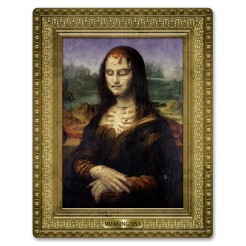 Halloween-Bild Zombiefrau Wanddeko gold-bunt 59x46cm