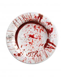 Horror-Teller Blutiger Handabdruck 8 Stück weiss-rot 23cm