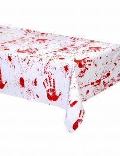Horror-Tischdecke Blutiger Handabdruck weiss-rot 274x137cm
