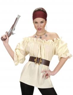 Piratin Bluse Kostüm-Zubehör beige