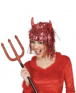 Metallische Teufel-Damenperücke rot