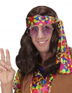 Hippie Perücke Schulterlang Kostümzubehör braun