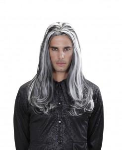 Zweifarbige Halloween-Perücke Vampir-Herrenperücke schwarz-weiss
