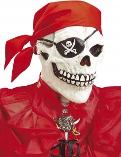 Totenkopf-Maske Halloween-Piratenmaske mit Bandana weiss-schwarz-rot