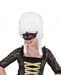 Venezianische Augenmaske mit Glitzer und Strass schwarz