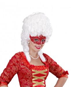 Venezianische Augenmaske mit Glitzer und Strass rot
