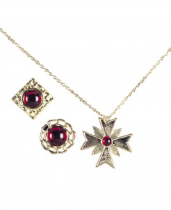 Vampiraccessoires Kette und Ringe 3-teilig gold-rot