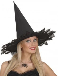 Halloweenkette mit glitzerndem Spinnenanhänger schwarz