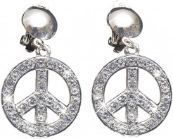 Hippie Strass-Ohrringe Peace silber