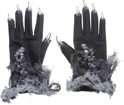 Halloween-Handschuhe mit langen Fingernägeln Hexenhandschuhe schwarz-grau-silber