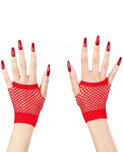 Netzhandschuhe fingerlos Kostümaccessoire rot
