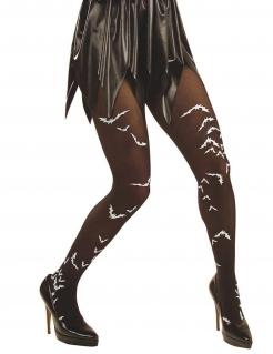 Halloween-Strumpfhose mit Fledermäusen schwarz-weiss