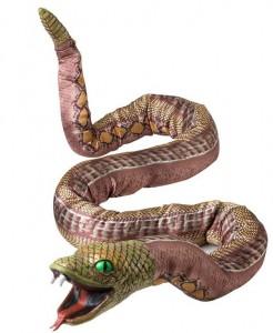 Riesen Schlange biegbar Halloween Party-Deko hellbraun 180cm