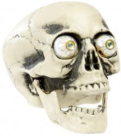 Totenkopf mit Augen Halloween Deko weiss-grau 21cm
