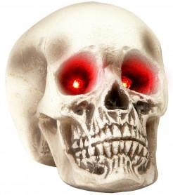 Totenkopf mit Leuchtaugen Halloween Deko weiss-grau 22cm