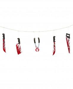Blutige Party-Girlande Werkzeuge Halloween metallic-rot-schwarz