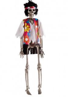 Skelett-Hippie Halloween-Hängedeko weiss-bunt 40cm