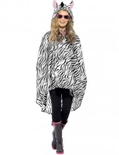 Party Poncho Zebra schwarz-weiss