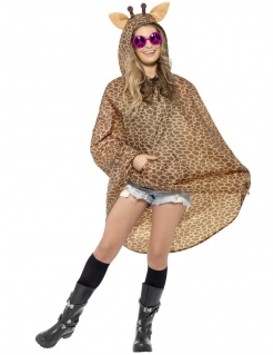 Party Poncho Giraffe braun
