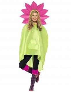 Party Poncho Blume grün-pink