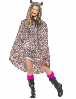 Party Poncho Leopard braun