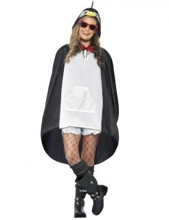 Party Poncho Pinguin schwarz-weiss
