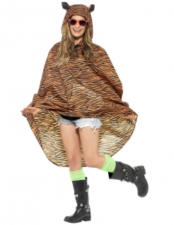 Party Poncho Tiger braun-schwarz