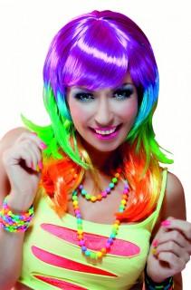 80er-Jahre Popstar-Perücke neonbunt
