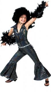 Disco-Kostüm für Mädchen schwarz-glänzend