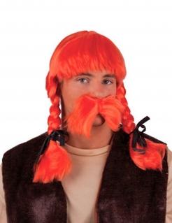 Gallier Zopf-Perücke mit Bart Kostümzubehör orange