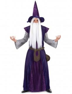Geheimnisvoller Zauberer Hexenmeister Kostüm violett-lila-grau