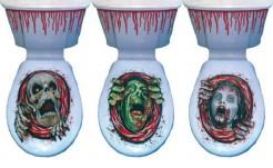 Blutbad Zombie Toiletten-Folie Halloween-Deko 2-teilig rot-grün