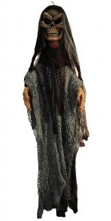 Zerlumptes Gespenst Halloween-Dekofigur mit Licht und Geräuschen grün-schwarz 130cm