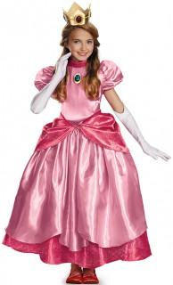 Prinzessin Peach Deluxe Kinderkostüm Super Mario Videospiel rosa