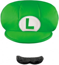 Luigi Kappe und Schnurrbart Super Mario Accessoire-Set für Kinder 2-teilig grün-weiss-schwarz