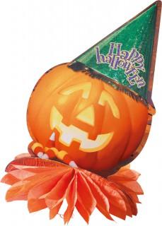 Halloween-Tischdeko Kürbis mit Hut orange-grün-gelb 32x23cm