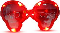 Totenkopf Halloween-Brille mit LEDs rot