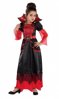 Kleine Vampir-Prinzessin Halloween Kinderkostüm rot-schwarz