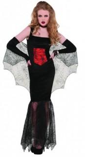 Düstere Gothic-Vampirin Halloween Kostüm für Damen schwarz-rot
