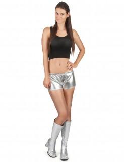 Damen Disco-Short glänzend silber