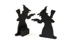 Hexen-Dekofiguren aus Holz Halloween-Tischdeko 2 Stück schwarz 6 x 3,5cm
