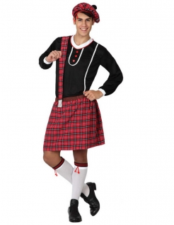 Herren Schotten Kostüm schwarz-weiss-rot kariert