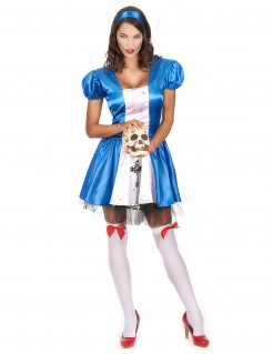 Blutige Horror-Prinzessin Halloween-Damenkostüm blau-weiss