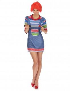 Mörderpuppen Halloween Damenkostüm blau-bunt