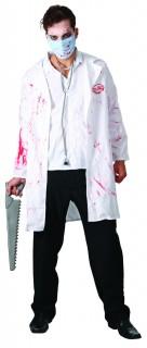 Blutiger Chirurg Halloween-Herrenkostüm weiss-rot