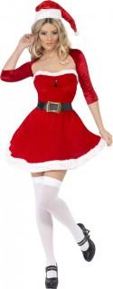 Sexy Weihnachtsfrau Damenkostüm rot-weiss-schwarz