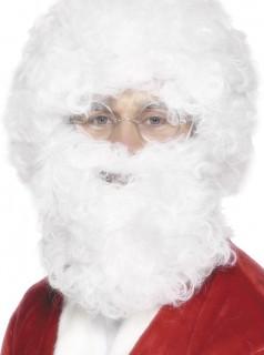 Weihnachtsmann Kostüm-Set Bart und Perücke weiss